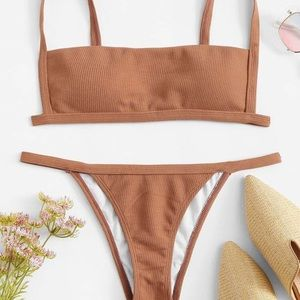 SHEIN never before worn dark tan trendy bikini!